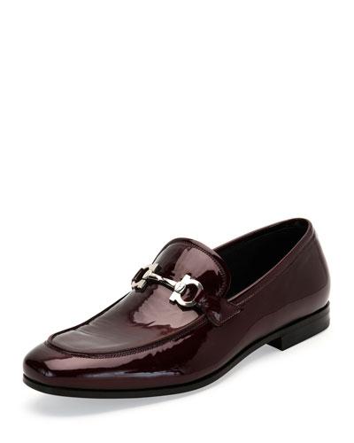 Funes 2 Patent Leather Gancio Loafer, Bordeaux