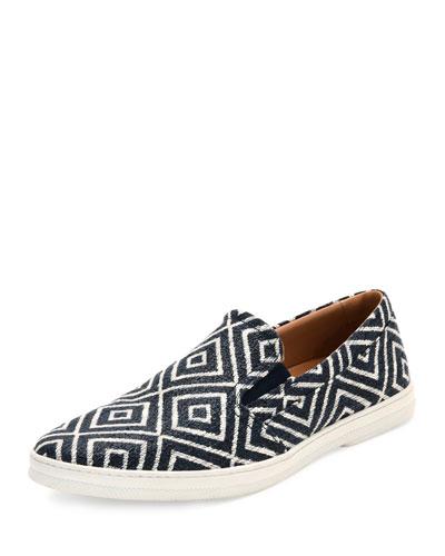 Geometric-Print Slip-On Sneaker, Indigo/Ecru