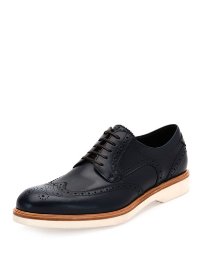 Fontana Wing-Tip Lace-Up Oxford w/Contrast Sole, Blue Marine