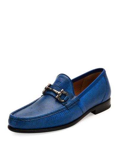 Men's Lizard Gancini Loafer, Royal Blue