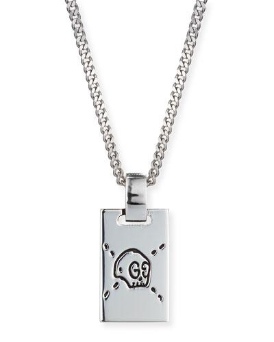 Men's GucciGhost Rectangle Pendant Necklace, Silver