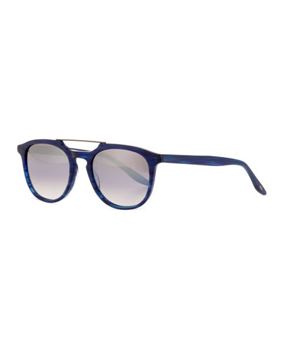 Men's Rainey Rectangular Top-Bar Sunglasses, Cobalt/Silver