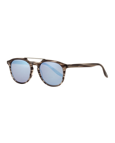 Men's Rainey Rectangular Top-Bar Sunglasses, Gray/Blue