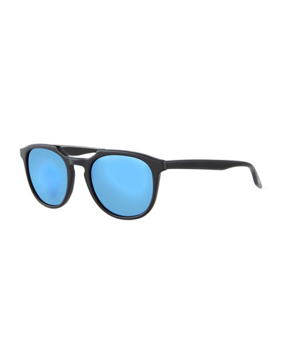 Men's Rainey Round Top-Bar Sunglasses, Black/Blue