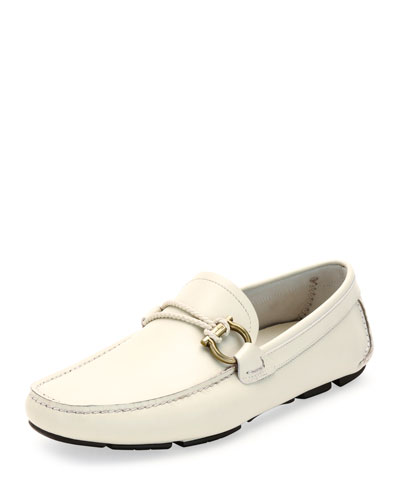 Front Calfskin Side-Gancio Driver, White