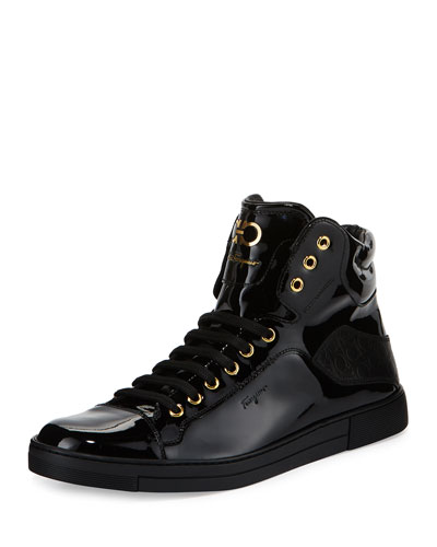 Men's Patent Leather High-Top Sneaker, Black
