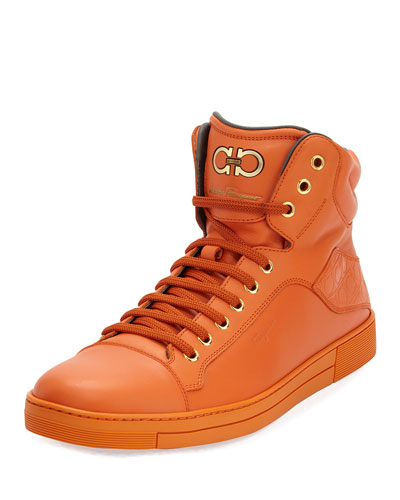 Stephen 2 Calfskin High-Top Sneaker, Orange