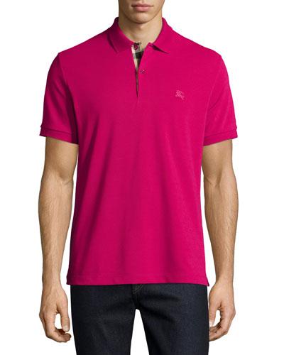 Short-Sleeve Pique Polo Shirt, FuchsiaPique Polo Shirt