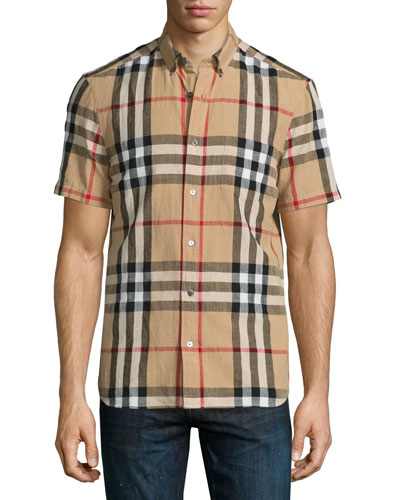 Elfords Check Short-Sleeve Shirt, Camel