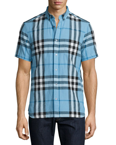 Elfords Check Short-Sleeve Shirt, Blue