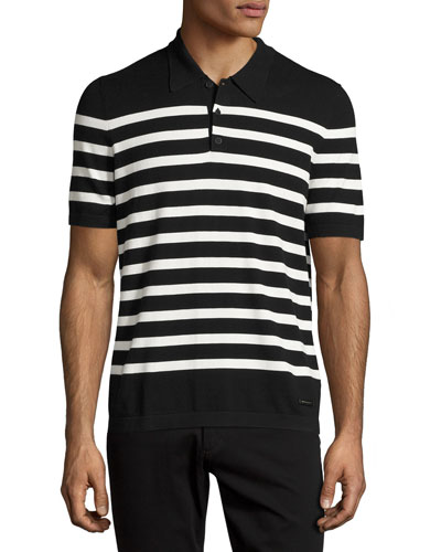 Highlands Striped Short-Sleeve Polo Shirt, Black/White