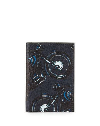 Capsule Now Motorcycle Bi-Fold Leather Card Case, Deep Blue/Black