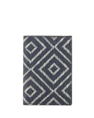 Capsule Now Geometric-Print Bi-Fold Canvas Card Case, Blue/Sand