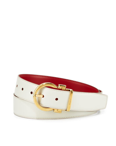 Reversible Leather Gancio-Buckle Belt, White/Red