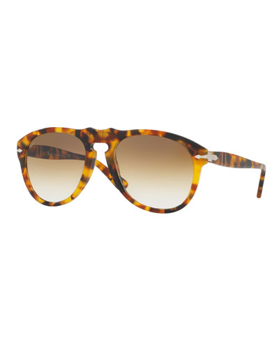 PO649S Aviator Sunglasses, Spotted Havana/Brown
