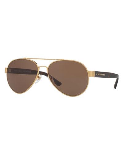 Men's Tailoring Polarized Aviator Sunglasses, Brushed Golden