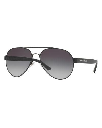 Men's Tailoring Polarized Aviator Sunglasses, Black/Gray