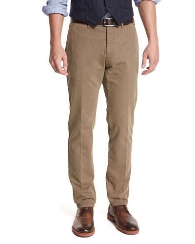 Duca Solid Flat-Front Pants, Mushroom