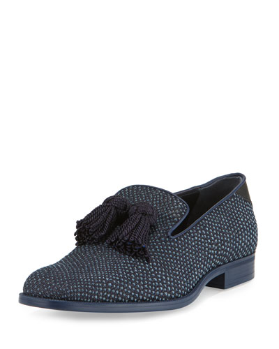 Foxley Python-Textured Denim Tassel Loafer, Black