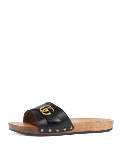 Sander Wood & Leather Clog w/GG, Black