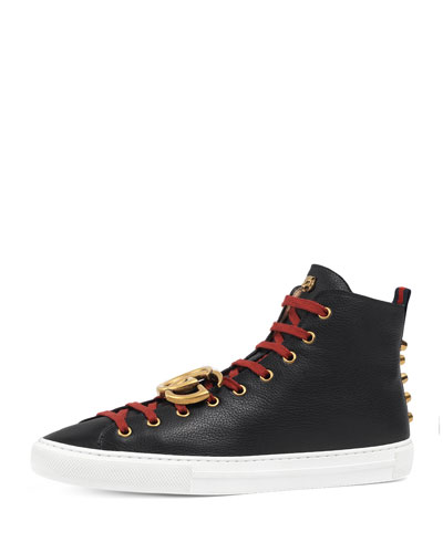 Major Leather High-Top Sneaker w/GG Ornament, Black