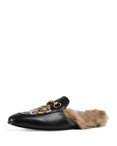 Princetown Fur-Lined Slipper w/Tiger Embroidery, Black