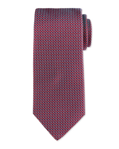 Neat Woven Basket Tie, Red