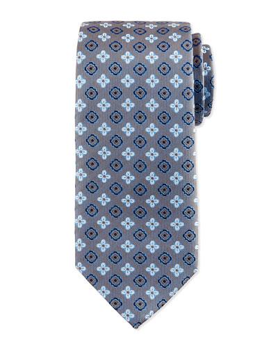 Floral Square Foulard Silk Tie, Steel Blue