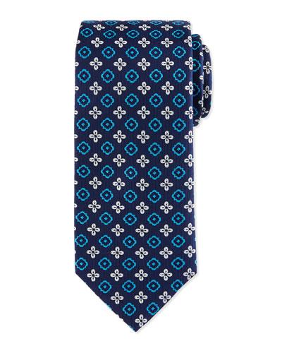 Floral Square Foulard Silk Tie, Navy