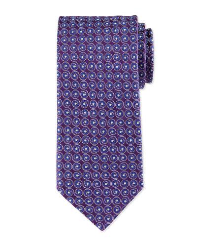 Swirl-Print Silk Tie, Purple