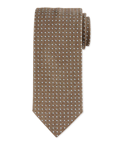 Micro Dot-Print Silk Tie, Brown
