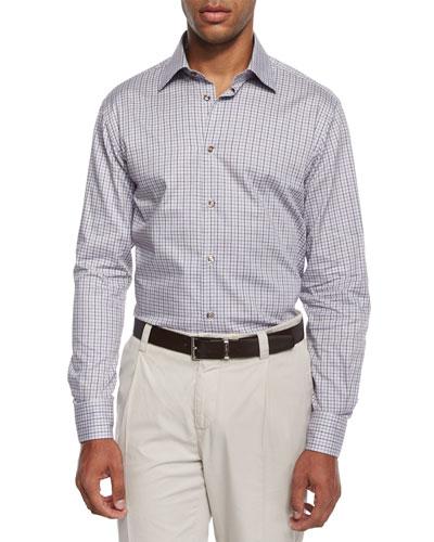 Chambray Check Sport Shirt, Gray
