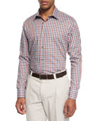 Chambray Check Sport Shirt, Red