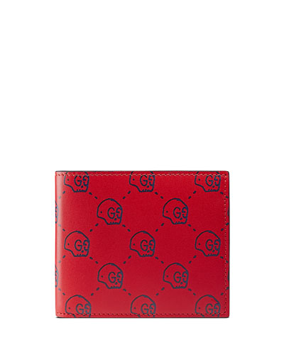 GucciGhost Skull Leather Wallet, Red