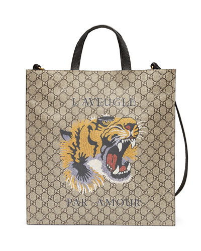 Tiger Face Soft GG Supreme Tote, Beige