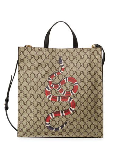 Snake GG Supreme Soft Tote Bag, Beige/Ebony
