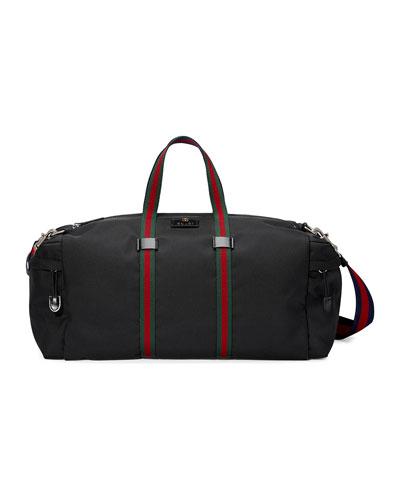 Technical Canvas Duffle Bag, Black