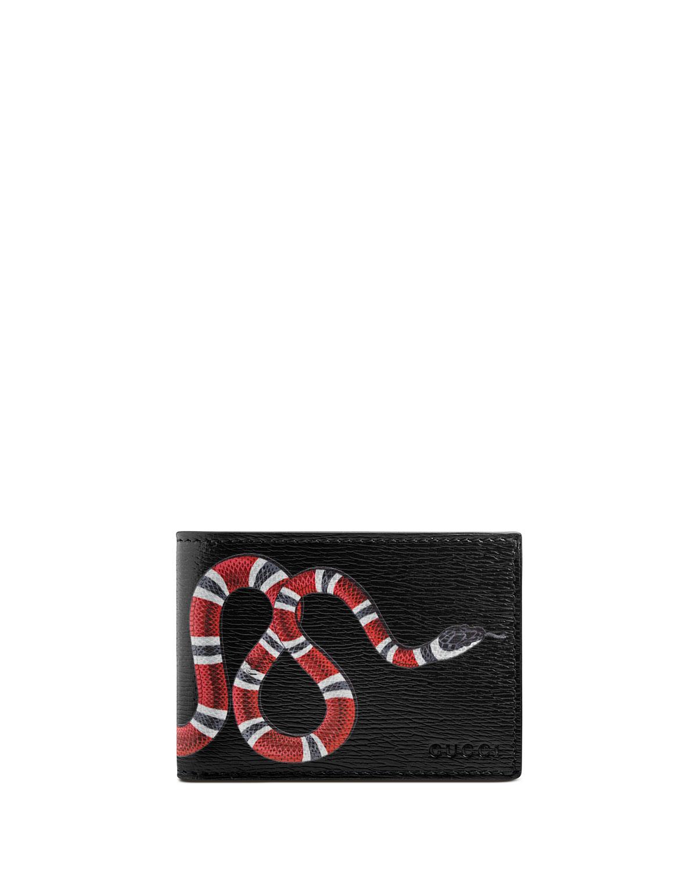 Bestiary Snake-Print Leather Wallet, Black