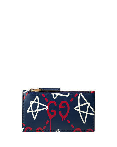 GucciGhost Star Leather Card Case, Navy