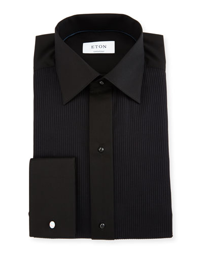 Contemporary-Fit Pleat-Front Formal Shirt, Black