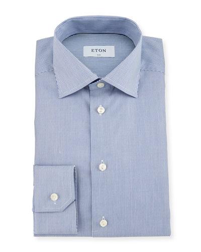 Slim-Fit Bengal-Stripe Dress Shirt, Blue