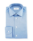Slim-Fit Herringbone Dress Shirt, Blue