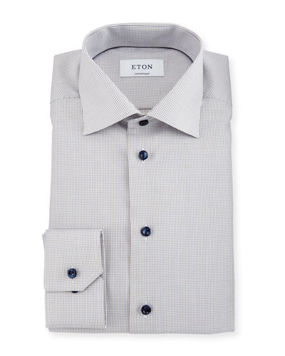 Contemporary-Fit Mini-Check Dress Shirt, White/Brown