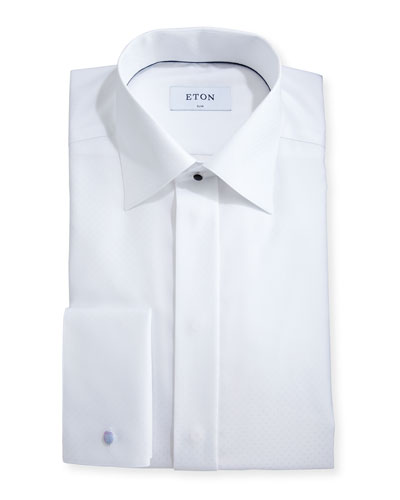 Slim-Fit Dobby-Dot Formal Shirt, White