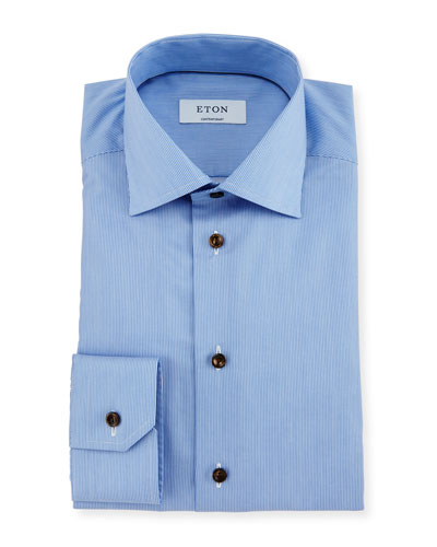 Contemporary-Fit Reverse-Stripe Dress Shirt, Light Blue