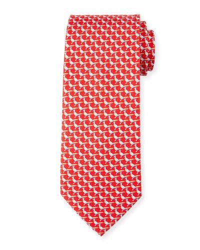 Pheasant Silk Twill Tie, Red