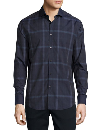 Glen Plaid Woven Sport Shirt, Navy