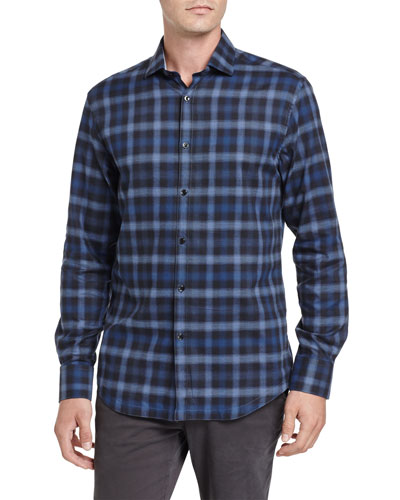 Shadow Plaid Sport Shirt, Navy
