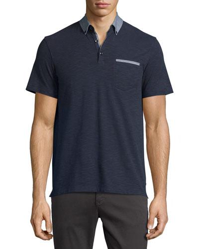 Slub Jersey Polo w/Contrast Trim, Navy