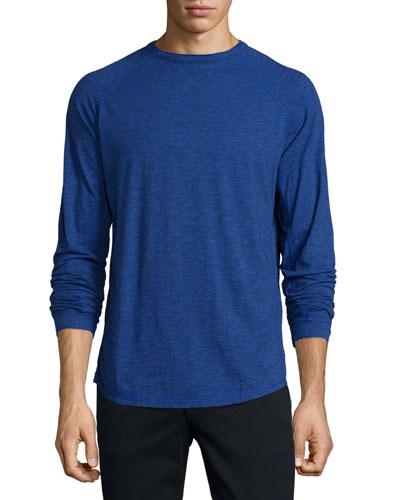 Raglan Slub Long-Sleeve T-Shirt, Bright Blue